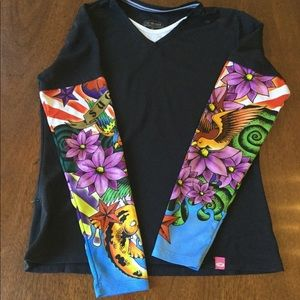 SUGOI Exercise Shirt with Tattoo Sleeves Sz.S